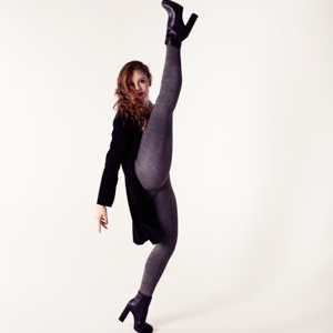 Musical Theatre performer Amelia doing a high kick so high it's the vertical splits!